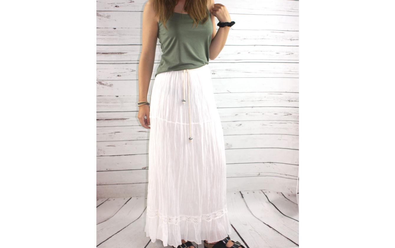 Falda larga blanca  de01588ae74